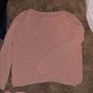 pink crochet sweater with cold shoulder